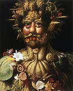 Vertumnus - Rudolf II' (c1590), showing Rudolph II (1552-1612), Holy Roman Emperor from 1576, as Vertumnus, ancient Roman god of seasons who presided over gardens and orchards.  Giuseppe Arcimboldo (c1530-1593) Italian painter. Oil on canvas.