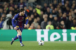 Lionel Messi of FC Barcelona during the UEFA Champions League round of 16 match between FC Barcelona and Chelsea FC at the Camp Nou stadium on March 14, 2018 in Barcelona, Spain.