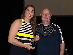 Martin Radford presents the Supporters Club Player of the Season award to Bristol Academy goalkeeper Mary Earps - Photo mandatory by-line: Paul Knight/JMP - Mobile: 07966 386802 - 11/10/2015 - Sport - Football - Bristol - Stoke Gifford Stadium - Bristol Academy WFC End of Season Awards 2015