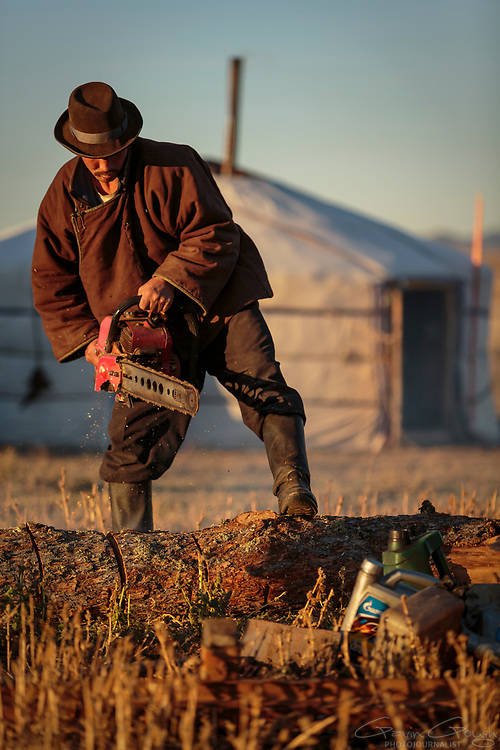 Baak Tulge uses a chainsaw to saw logs outside the family ger tent. Baak's family travel with Baak's older brother, Batjarjra. Both families move location four or five times each year, depending on the season.