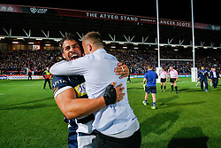 Bristol Rugby Flanker Marco Mama celebrates with Joe Joyce after winning the Championship Final and promotion to the Aviva Premiership - Mandatory byline: Rogan Thomson/JMP - 25/05/2016 - RUGBY UNION - Ashton Gate Stadium - Bristol, England - Bristol Rugby v Doncaster Knights - Greene King IPA Championship Play Off FINAL 2nd Leg.