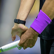 2019 US Open Tennis Tournament- Day Ten.  Rafael Nadal of Spain attempts to stretch his arm muscles during his match against Diego Schwartzman of Argentina in the Men's Singles Quarter-Finals match on Arthur Ashe Stadium during the 2019 US Open Tennis Tournament at the USTA Billie Jean King National Tennis Center on September 4th, 2019 in Flushing, Queens, New York City.  (Photo by Tim Clayton/Corbis via Getty Images)