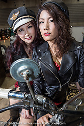 Posing on a vintage Harley-Davidson Knucklehead at the Mooneyes Yokohama Hot Rod & Custom Show at the Pacifico exhibition hall. Yokohama, Japan. December 3, 2016.  Photography ©2016 Michael Lichter.