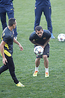 FC Barcelona´s Dani Alves during a training at the Vicente Calderon stadium in Madrid, Spain. Atletico de Madrid will face FC Barcelona in the second leg quarterfinal Champions League soccer match.  April 8, 2014. (ALTERPHOTOS/Victor Blanco)