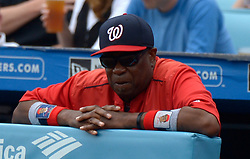 June 7, 2017 - Los Angeles, California, U.S. - Washington Nationals manager Dusty Baker looks on against the Los Angeles Dodgers in the second inning of a Major League baseball game at Dodger Stadium on Wednesday, June 7, 2017 in Los Angeles. (Photo by Keith Birmingham, Pasadena Star-News/SCNG) (Credit Image: © San Gabriel Valley Tribune via ZUMA Wire)