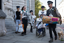 London, UK. 1st September, 2020. Anti-HS2 activists from HS2 Rebellion and Stop HS2 prepare to march from Buckingham Palace to a rally in Parliament Square. HS2 Rebellion activists are attending Extinction Rebellion's September Rebellion protests in London to call on the government to cancel the controversial HS2 high-speed rail link on the grounds of its hugely detrimental environmental impact and its estimated £106bn cost.