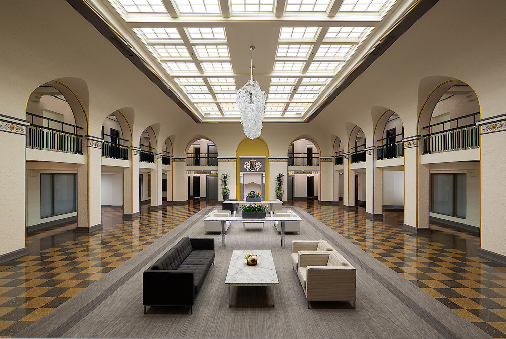 Interior Lobby of the Historic Senator Hotel in Sacramento, CA Office infrastructure- architectural and Interior Photography example of Chip Allen's work.