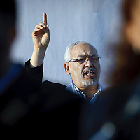 Tunis, Tunisia 21 October 2011<br /> Rached Ghannouchi, leader of Ennahdha, talk to the partisans during a campaign meeting. Ennahdha, an Islamist political party, is running for the elections of October 23rd 2011.<br /> Following the invitation from the Tunisia interim government, the European Union established an Election Observation Mission to monitor the upcoming elections for a Constituent Assembly.<br /> Photo: Ezequiel Scagnetti © European Union
