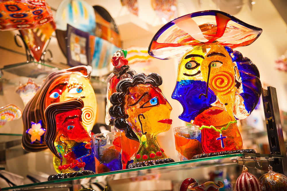 Hand blown Murano glass sculptures on display in a shop in Venice, Italy.
