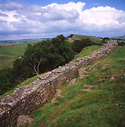 Hadrian's wall, section of Roman defensive wall, Walltown Crag, Northumberland, England, UK