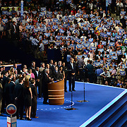 Retired Adm. John Nathman speaks on stage with military veterans to honor and thank vetrans at the 2012 Democratic National Convention.