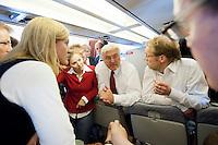 17 JUN 2009, AIRSPACE/UKRAINE:<br /> Frank-Walter Steinmeier, SPD, Bundesaussenminister, im Gespraech mit Journalisten, auf dem Rueckflug von Kiew nach Warschau, in einem Airbus A310 der Flugbereitschaft der bundeslauftwaffe, Luftraum uber der Ukraine<br /> IMAGE: 20090617-01-181<br /> KEYWORDS: travel, Flugzeug, plane
