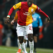 Galatasaray's Emmanuel Eboue On or with the ball (stood full) during their Turkish superleague soccer derby match Galatasaray between Besiktas at the TT Arena at Seyrantepe in Istanbul Turkey on Sunday, 26 February 2012. Photo by TURKPIX