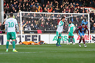 GOAL Scunthorpe United forward Lee Novak (17) scores a goal to make it 1-2  during the EFL Sky Bet League 1 match between Scunthorpe United and Plymouth Argyle at Glanford Park, Scunthorpe, England on 27 October 2018. Pic Mick Atkins