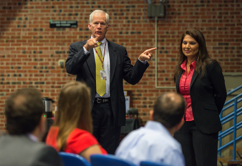 Houston ISD Trustee Mike Lunceford comments during a visit by Claire Sanderson to Las Americas, March 24, 2016.