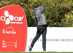 Oct 19, 2018-Jeju, South Korea-BROOKS KOEPKA of USA action on the 3th tee during the PGA Golf CJ Cup Nine Bridges Round 2 at Nine Bridges Golf Club in Jeju, South Korea.