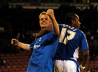 Photo: Jed Wee.<br /> Sheffield United v Birmingham City. Carling Cup. 24/10/2006.<br /> <br /> Birmingham's Sebastian Larsson (L) celebrates with Neil Danns after scoring their fourth goal.