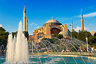 The exterior of the 6th century Byzantine (Eastern Roman) Hagia Sophia ( Ayasofya ) built by Emperor Justinian. The size of the dome was un-surpassed until the 16th century, Istanbul, Turkey .<br /> <br /> If you prefer to buy from our ALAMY PHOTO LIBRARY  Collection visit : https://www.alamy.com/portfolio/paul-williams-funkystock/istanbul.html<br /> <br /> Visit our TURKEY PHOTO COLLECTIONS for more photos to download or buy as wall art prints https://funkystock.photoshelter.com/gallery-collection/3f-Pictures-of-Turkey-Turkey-Photos-Images-Fotos/C0000U.hJWkZxAbg