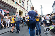 **NO REPRO FEE** Hell for Leather Dancers, Co Clare dancing on O'Connell Street at the Fleadh in Ennis on Monday. Photograph by Eamon Ward