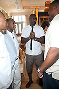 24 June 2010- Miami Beach, Florida- Bernard Bronner, Jeff Friday and  Idris Elba at the The 2010 American Black Film Festival Founder's Brunch held at Emeril's on June 24, 2010. Photo Credit: Terrence Jennings/Sipa