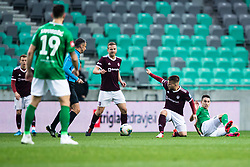 Gasper Udovic of NK Triglav  and Luka Menalo of NK Olimpija during football match between NK Olimpija Ljubljana and NK Triglav Kranj in Round #22 of Prva liga Telekom Slovenije 2019/20, 25 February, 2020 in Stadium Stozice, Ljubljana, Slovenia. Photo By Grega Valancic / Sportida