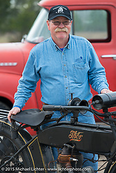 Joe Gimpel with his 1913 Thor and 1956 Ford pickup at the Annual AMCA Sunshine Chapter swap meet in New Smyrna Beach, FL during Daytona Bike Week. Saturday, March 7, 2015.  Photography ©2015 Michael Lichter.