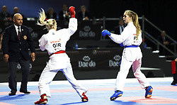 November 10, 2018 - Madrid, Madrid, Spain - German karateka Jana Bitsch (L) seen fighting with Polish karateka Dorota Banaszczyk to competes for the Gold Medal during the Kumite female -55kg competition of the 24th Karate World Championships at the WiZink centre in Madrid. (Credit Image: © Manu Reino/SOPA Images via ZUMA Wire)