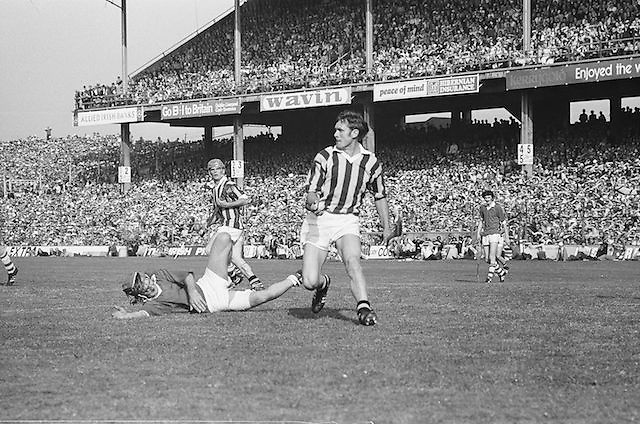 Cork player lying on the ground after a tackle during at the All Ireland Senior Hurling Final, Cork v Kilkenny in Croke Park on the 3rd September 1972. Kilkenny 3-24, Cork 5-11.