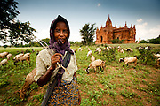 Portrait of a goat herder in Bagan. In amoungst the literally thousands of stupas and temples in this province of Myanmar, rural life continues as it has for hundreds of years.