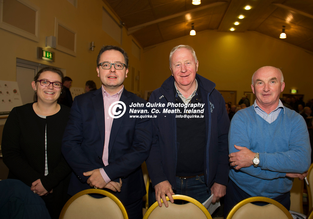 11-12-17. Meath GAA Annual Convention at Navan O'Mahony's GAA Clubhouse, Navan.<br /> Delegates in attendance at the Annual Convention from left, Denise Morgan, Keith Loughman, Jacksor Kavanagh and James Kelly, St. Colmcille's.<br /> Photo: John Quirke / www.quirke.ie<br /> ©John Quirke Photography, Unit 17, Blackcastle Shopping Cte. Navan. Co. Meath. 046-9079044 / 087-2579454.