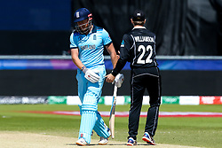 Jonny Bairstow of England shakes hands with Kane Williamson of New Zealand after getting out for 106 - Mandatory by-line: Robbie Stephenson/JMP - 03/07/2019 - CRICKET - Emirates Riverside - Chester-le-Street, England - England v New Zealand - ICC Cricket World Cup 2019 - Group Stage
