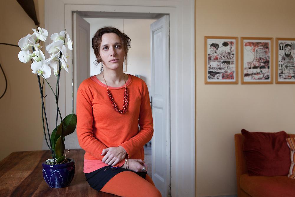 Napoli, Italy, February 5, 2014. Valeria Parrella, Italian writer at her home in Naples.
