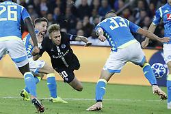 PSG's Neymar battling Napoli's Dries Mertens during the Group stage of the Champion's League, Paris-St-Germain vs Napoli in Parc des Princes, Paris, France, on October 24th, 2018. PSG and Napoli drew 2-2. Photo by Henri Szwarc/ABACAPRESS.COM