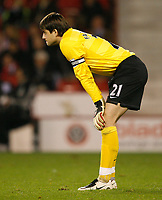 Photo: Steve Bond.<br />Sheffield United v Arsenal. Carling Cup. 31/10/2007. Lukasz Fabianski has little to do