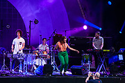 Brooklyn, NY - 15 July 2017. The BRIC Celebrate Brooklyn! Festival summer concert series featured a post-Bastille Day bill of the Louisiana bilingual band Sweet Crude and French songwriter and stylist Ben L'Oncle Soul. Sweet Crude on stage.