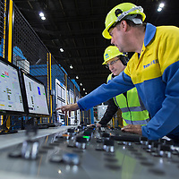TATA Steel - Llanwern Works , Magor , South Wales. Images of the Heavy Gauge Decoiler - men at control desk