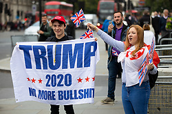 © Licensed to London News Pictures. 05/09/2018. London, UK. NOTE: FILE PHOTO. Max Hammet-Millay (left) and James Goddard (rear, purple top) pictured at a Brexit demonstration in September. The pair have been accused of being part of the group calling Conservative MP Anna Soubry a 'Nazi' on Monday this week. [ORIGINAL CAPTION: Anti-Brexit demonstrators and some far-right sympathisers campaign outside the Houses of Parliament, calling for Britain's immediate exit from the EU, and the re-instating of former Foreign Secretary Boris Johnson.] Photo credit : Tom Nicholson/LNP