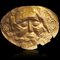 Mycenaean gold death mask, Grave Cicle A, Mycenae, Greece. National Archaeological Museum of Athens.  Black Background<br /> <br /> This death mask is typical of the other Mycenaean gold death masks fround in Grave V. made from a sigle sheet of gold the shape of the face would have been hammered ot against wood. two holes either side of the gold mask allowed it to be held over the dead mans face. As weapons were found in the graves of Grave Circle A at Mycenae, those buried here wer warriors and maybe kings as the grave goods buried with them were of great value. 16th century BC