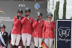 Team Germany : Theresa Ripke, Laura Strehmel, Leonie Krieg, Teike Carstensen<br /> FEI European Jumping Championship for juniors <br /> Arezzo 2014<br /> © Hippo Foto - Stefano Secchi