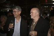 Bill Buford and Dan Franklin. publication party for Bill Buford and his memoir HEAT. Hosted by Marco Pierre White at 'Frankie's. Knightsbridge. 10 July 2006. ONE TIME USE ONLY - DO NOT ARCHIVE  © Copyright Photograph by Dafydd Jones 66 Stockwell Park Rd. London SW9 0DA Tel 020 7733 0108 www.dafjones.com