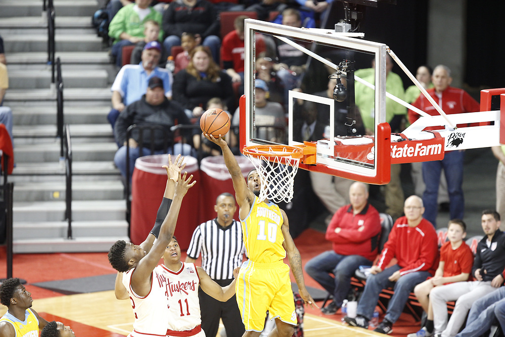 Southern University Jaguars forward Shawn Prudhomme #10 scores during Nebraska's 81-76 win over Southern at Pinnacle Bank Arena in Lincoln, Neb. on Dec. 20, 2016. Photo by Aaron Babcock, Hail Varsity