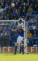 Photo: Steve Bond.<br />Leicester City v Derby County. Coca Cola Championship. 06/04/2007. Dean Leacock rises above Leicester's Iain Hume
