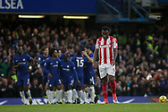 Saido Berahino of Stoke City looks on dejected after Chelsea score their second goal of the game .<br /> Premier league match, Chelsea v Stoke city at Stamford Bridge in London on Saturday 30th December 2017.<br /> pic by Kieran Clarke, Andrew Orchard sports photography.