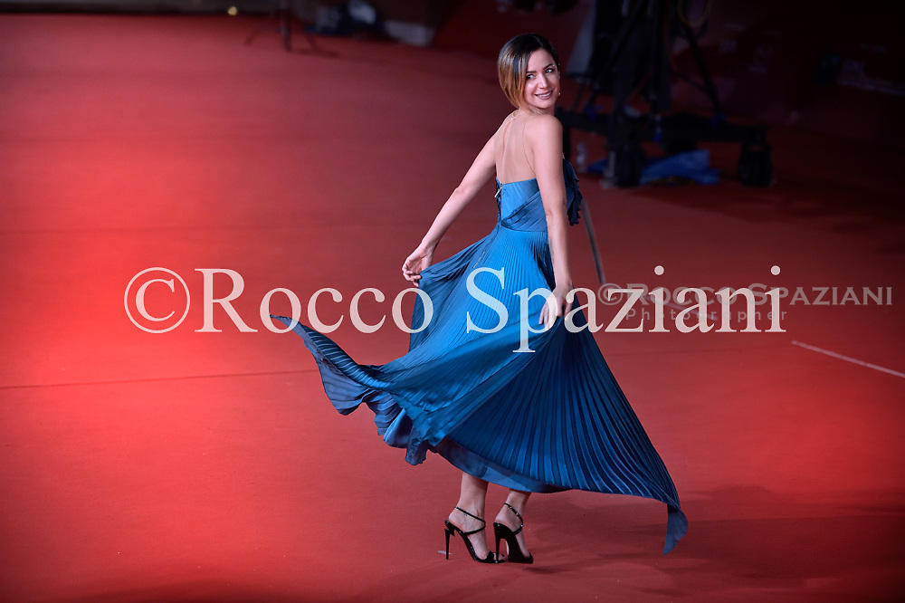 Andrea Delogu  walks a red carpet during the 13th Rome Film Fest at Auditorium Parco Della Musica on October 24, 2018 in Rome, Italy.