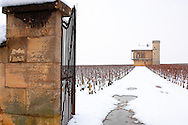Clos de Vougeot in the snow.  France. .<br /> <br /> Visit our FRANCE HISTORIC PLACES PHOTO COLLECTIONS for more photos to download or buy as wall art prints https://funkystock.photoshelter.com/gallery-collection/Pictures-Images-of-France-Photos-of-French-Historic-Landmark-Sites/C0000pDRcOaIqj8E