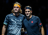 Tennis - 2019 Nitto ATP Finals at The O2 - Day Seven<br /> <br /> Semi Finals: Stefanos Tsitsipas (Greece) Vs. Roger Federer (Switzerland) <br /> <br /> Stefanos Tsitsipas (Greece) and Roger Federer (Switzerland) pose for pics before the game <br /> <br /> COLORSPORT/DANIEL BEARHAM<br /> <br /> COLORSPORT/DANIEL BEARHAM