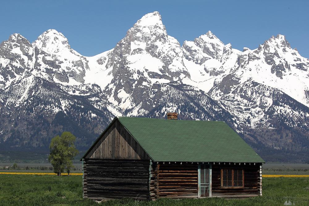 Old barns sit along Mormon Row in Grand Teton National Park, Wyoming, USA