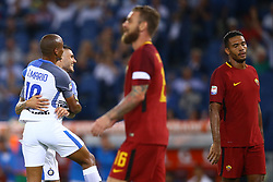 August 26, 2017 - Rome, Italy - Mauro Icardi of Internazionale and Joao Mario of Internazionale celebration after the goal of scoring the goal of 1-2 scored  during the Serie A match between AS Roma and FC Internazionale at Olimpico Stadium in Rome, Italy, on August 26, 2017. (Credit Image: © Matteo Ciambelli/NurPhoto via ZUMA Press)