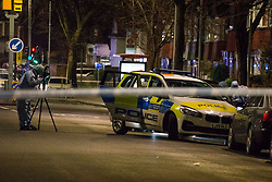 © Licensed to London News Pictures.17/03/2021. London,UK. Police and forensic officers gather evidence after two men have been stabbed in Leyton, east London. Police were called at 5:20pm to reports of stabbing. One male was pronounced dead at the scene. Photo credit: Marcin Nowak/LNP