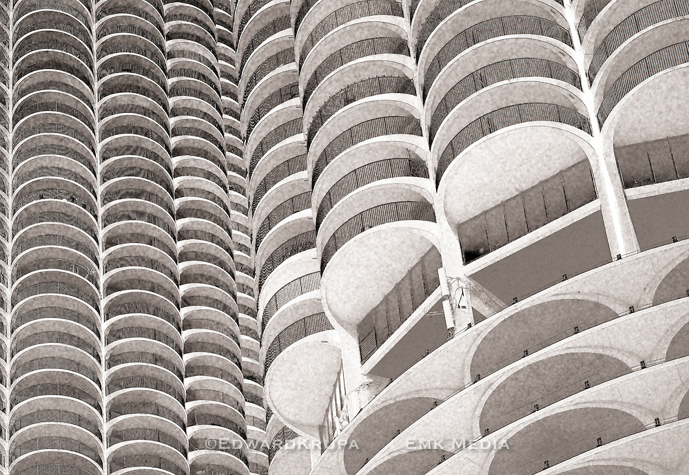 Marina City towers detail, Chicago, Illinois, USA.  Bertrand Goldberg, Architect.